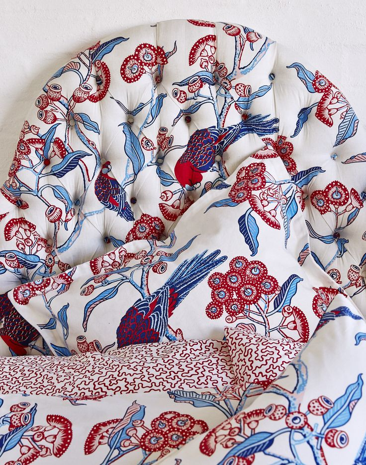 Beautiful custom bed head featuring Rosella print. www.utopiagoods.com