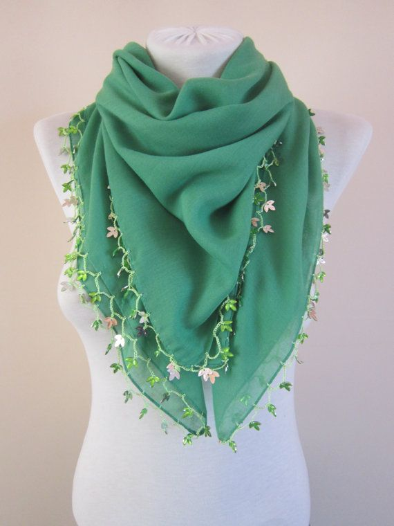 Green Crochet ScarfBeaded ScarfCotton ScarfBoho by scarfnurlu