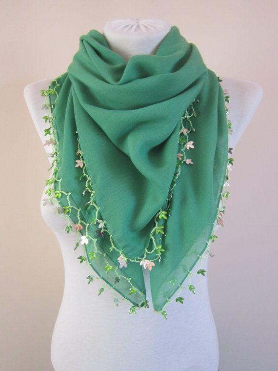 Green Crochet ScarfBeaded ScarfCotton ScarfBoho by scarfnurlu