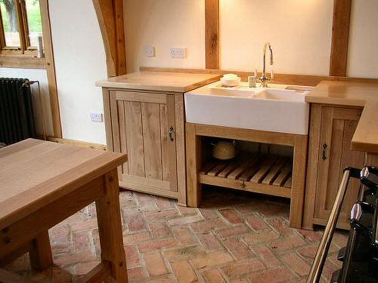 Free Standing Kitchen Sinks Cabinet With Oak