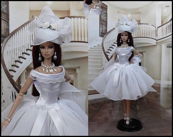 Barbie White dress Hat jewelry Outfit for Barbie doll Silkstone (NO DOLL)