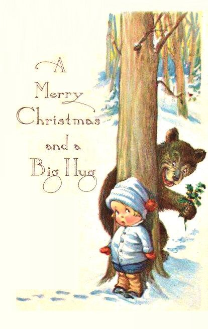 child with bear who just wants to give her a Christmas hug