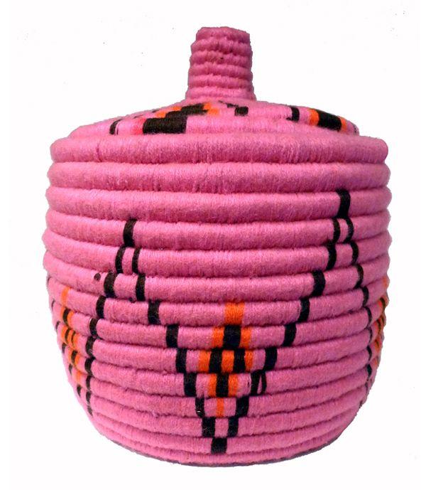 Handmade Berber basket made with neon colors from kira-cph.com