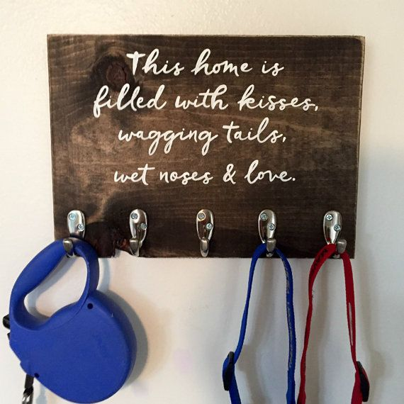 Wood Dog Leash Holder  Pet Lover Gift  Home Décor  by WiscoFarms