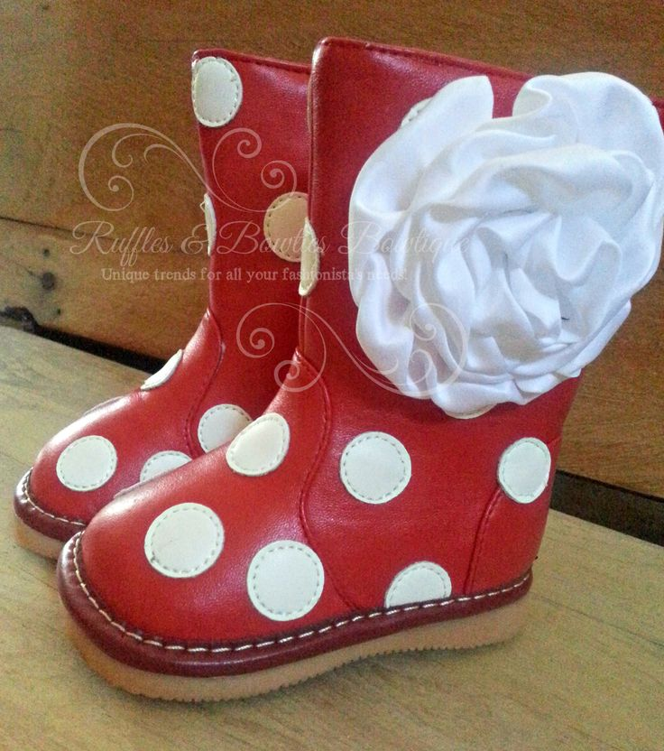 Red & White Polka Dot Leather Fashion Squeaky Boots With Flower