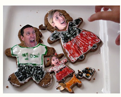 Christmas card, funny to have Santa's hand grabbing cookies