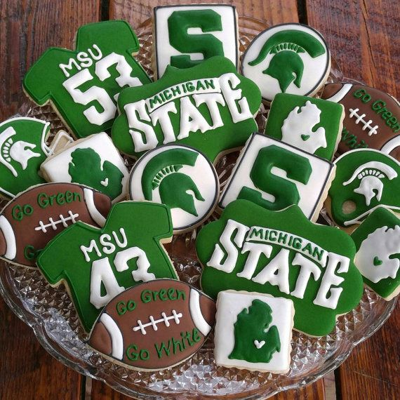 Michigan State University Cookies by TheTreatsbyTrishShop on Etsy