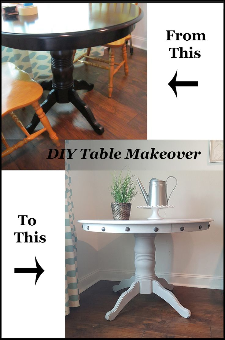 DIY Table makeover idea for your kitchen and dining room!  LOVE the nailhead trim on this one!