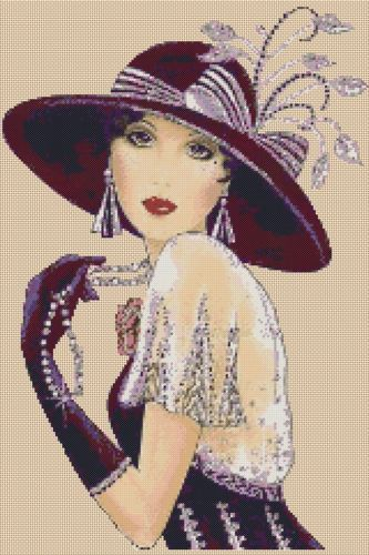 Cross stitch chart Art Deco Lady 35c