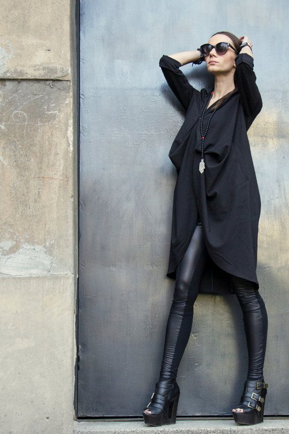 NEW COLLECTION / Spring Black Trench Coat / Extravagant Asymmetrical Blazer by AAKASHA on Etsy, $95.00