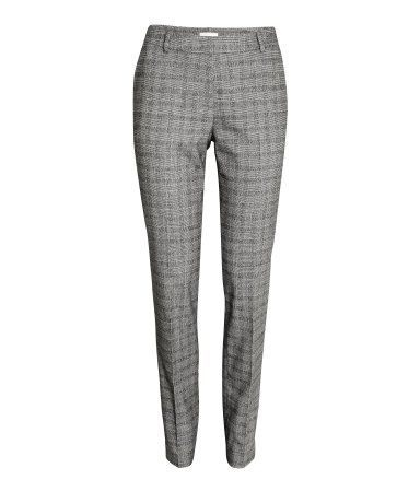 Gray/checked. Suit pants in woven stretch fabric. Side pockets, regular waist with concealed hook-and-eye fastener at front, and welt back pocket. Tapered
