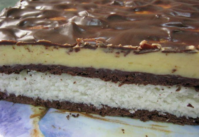 Vynikajúci kokosovo-čokoládový koláč bez pečenia - Receptik.sk