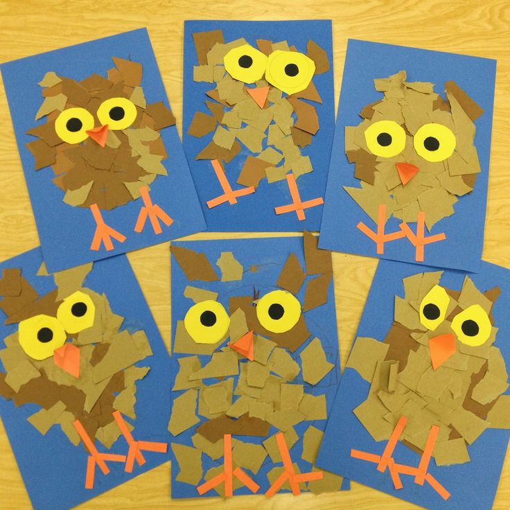 More fun Kindergarten Owlets-Ripping Paper. Art Teacher: V. Giannetto