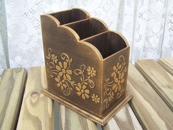 Porta Controle Remoto Floral Dourado