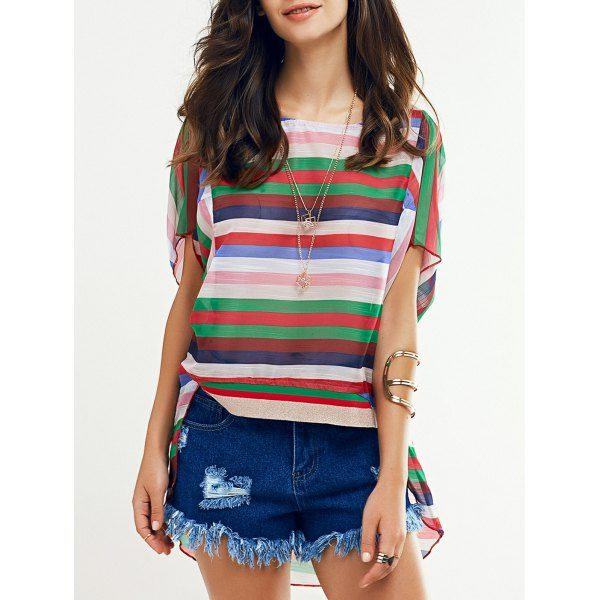 Colorful Batwing Sleeve Striped T-Shirt For Women #jewelry, #women, #men, #hats, #watches, #belts, #fashion