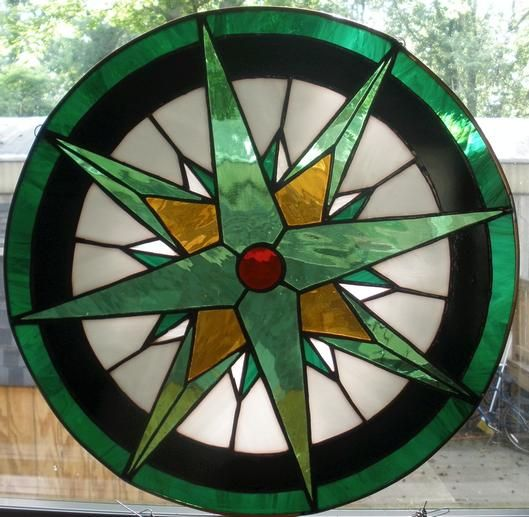 compass rose stained glass circle