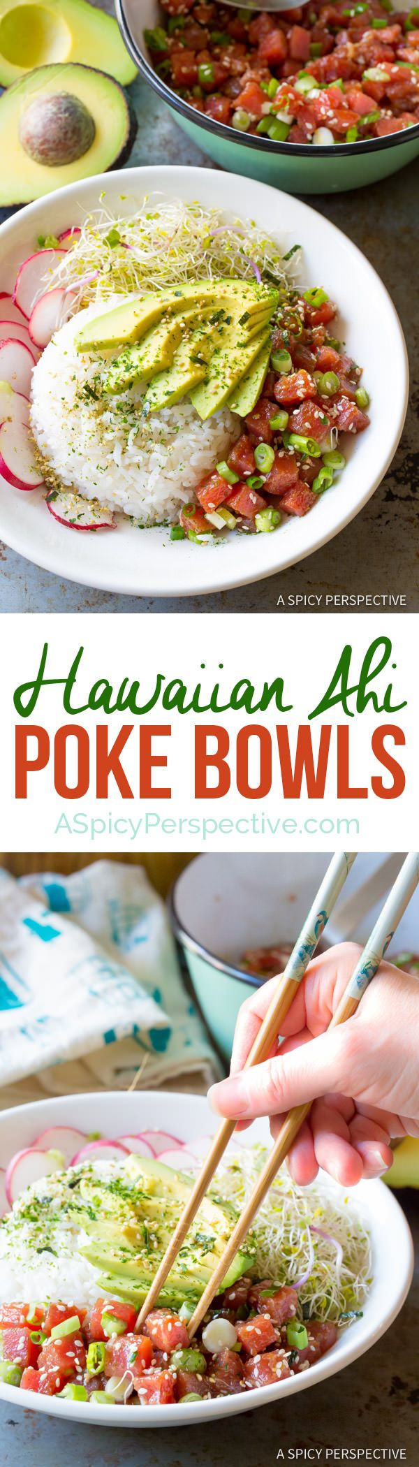 Healthy Hawaiian Ahi Poke Bowl Recipe (Gluten Free)| ASpicyPerspective.com