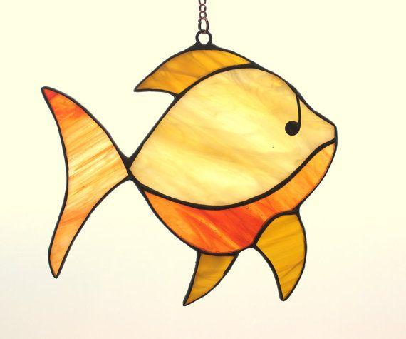 Gebrandschilderd glas vis - tiffany glas vissen. Een suncatcher gebrandschilderd glas. Visserij geschenk. Visserij decor. Vis sieraad. Vis kunst