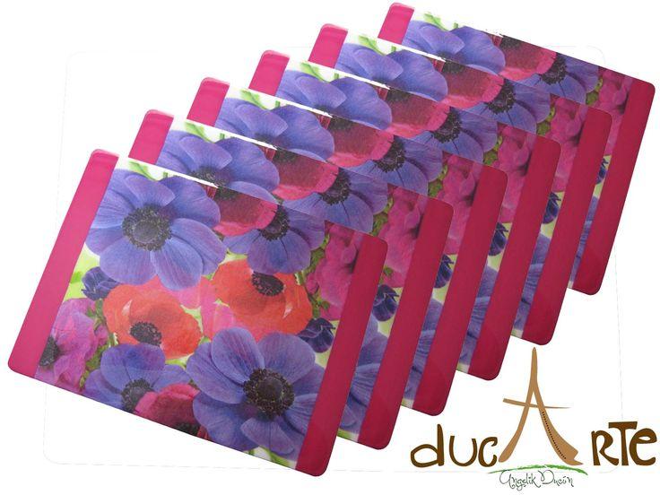 Decora y dale color a tu casa con estos hermosos individuales!!! www.ducarte.com #Colombia #Decoracion #flores #individuales #madera #resinados #hechoamano #Colores