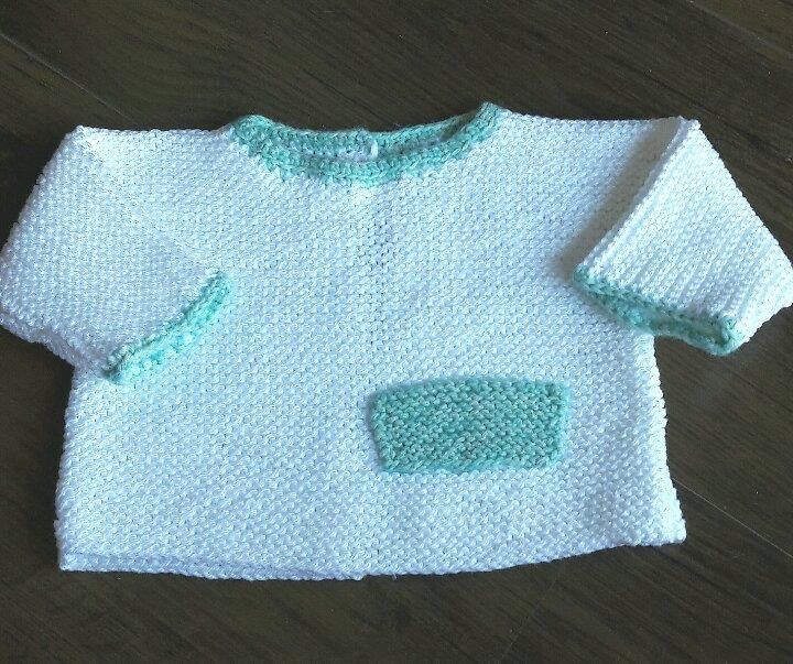Wit baby truitje in katoen  - maat 0-2 maanden door MarieCrochetStore op Etsy
