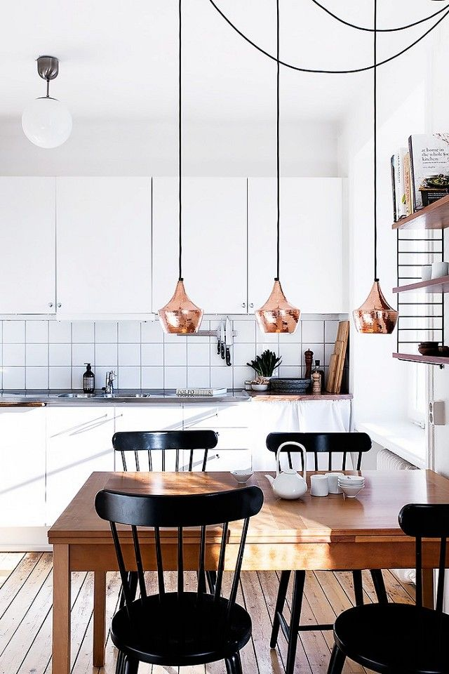Modern minimalist kitchen with rose gold pendant lights
