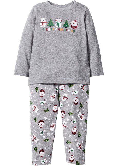 Для малышей: футболка с длинным рукавом + трикотажные брюки из биохлопка (2 изд.), bpc bonprix collection, светло-серый меланж с рисунком