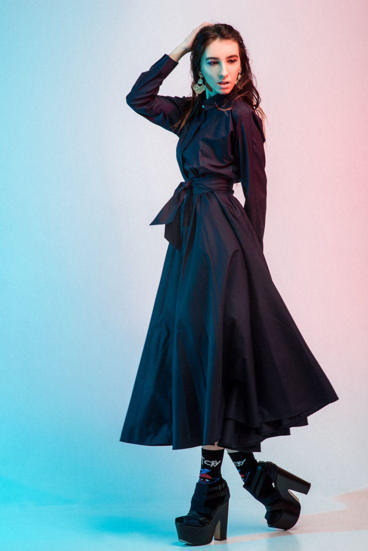 Royal navy maxi dress, Maxi Shirtdress, Floaty Flared Dress,Shift sleeve,Tea length,Free-shipping,Vintage style,Women's dress, New-Yaer Look by LikeShop2U on Etsy
