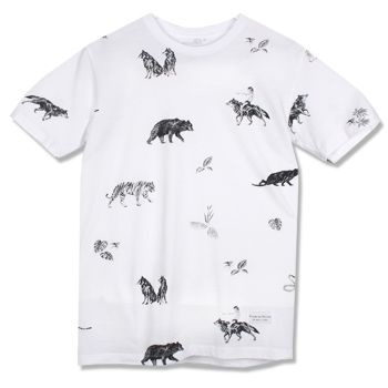 Raised By Wolves Jungle Tee - White  Label: Raised By Wolves   Format: Tshirt  £25.00 (£30.00 inc VAT)     Canadian born brand Raised By Wolves takes its inspiration from Skate culture, Urban clothing, and other popular trends combining them to create unique and one of a kind pieces of clothing.   •	Raised By Wolves  •	Raised By Wolves Jungle Tee-Shirt  •	Black & White colourway  •	100% Cotton  •	Screen printed design front & back  •	Regular fit