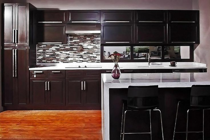 25 great ideas about espresso cabinets on pinterest for Chocolate kitchen cabinets with stainless steel appliances