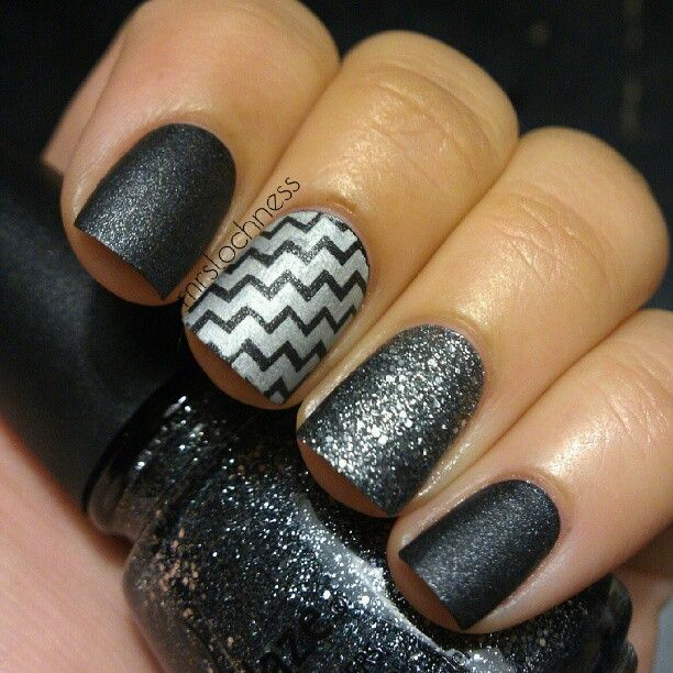 China Glaze Stone Cold & Tinsel Town stamped with  Mash45