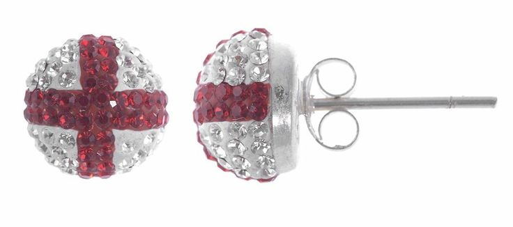 Mesos half ball crystal stud earrings england flag - diameter 8mm - made from 925 Sterling Silver - used approx. 200 cyrstal per pair - handmade