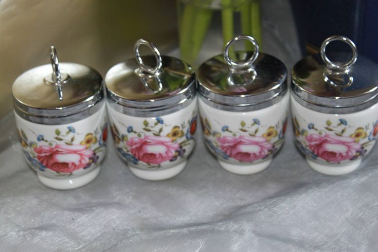 Set of 4 Egg Coddlers  'English Roses'  by Royal Worcester of Great Britain by AtticBazaar on Etsy
