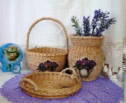 Плетеный набор для кухни Фиалки на песке - бежевый,фиалки,песочный,подарок ручной работы