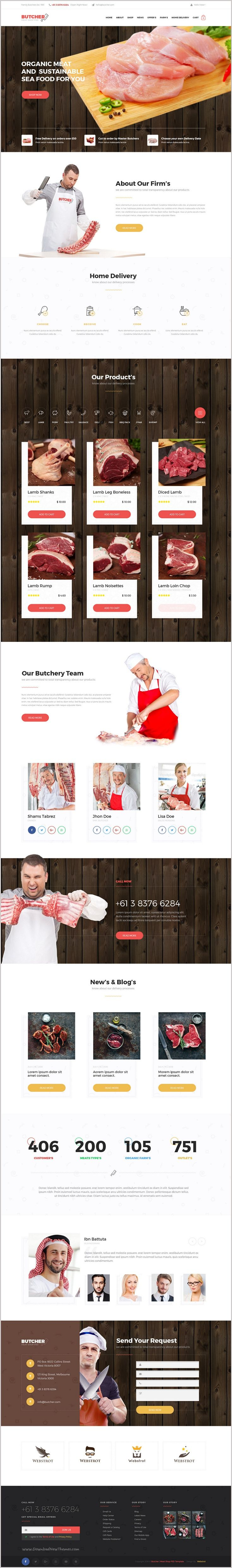 Butcher is a beautifully design #PSD template for #meat shop #marketplace website Download Now➯ https://themeforest.net/item/butcher-meat-shop-psd-template/17259899?ref=Datasata