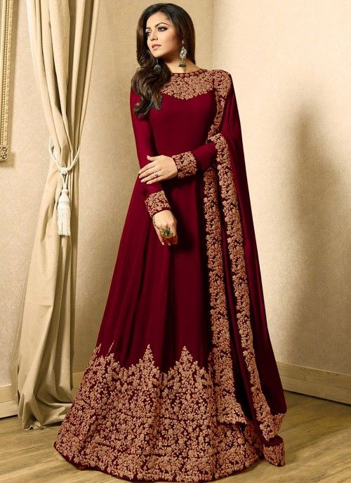 5010785b85 Drashti Dhami Maroon Georgette Embroidered Anarkali Suit | SAVED in ...