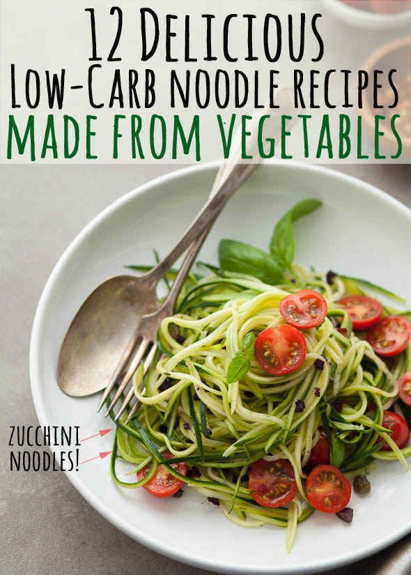 12 Light & Delicious Veggie Noodle Recipes #lowcarb #healthy