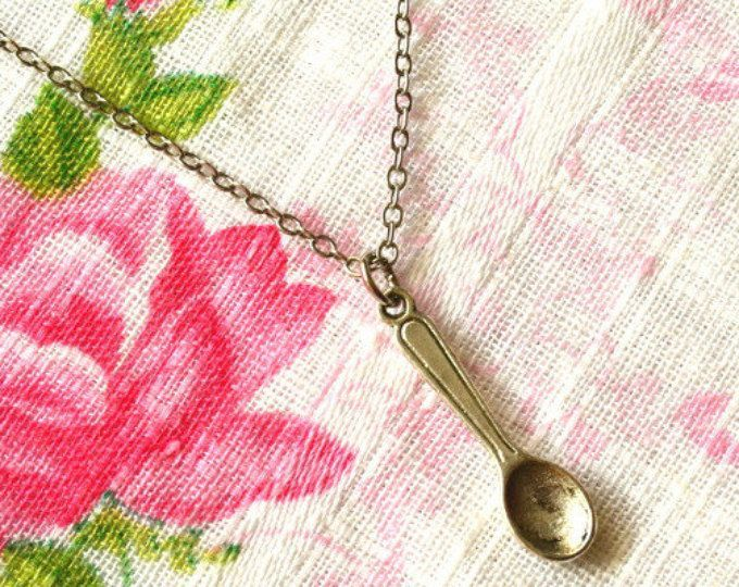 Spoon Necklace, Spoon Jewelry, Tiny Spoon Charm, Mini Spoon Pendant, Spoon Theory, Spoonie Jewelry, Antiqued Spoon, Silver Spoon Nickel Free  #spoonnecklace #spoonjewelry #spoon #spoonie #spooncharm #miniaturejewelry #spoontheory #jewelry #antiquesilver #