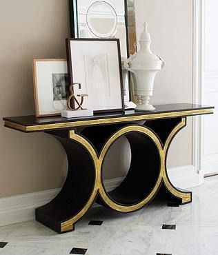 Transform your entry hall wall or your master bedroom with the striking profile of our Links Console.