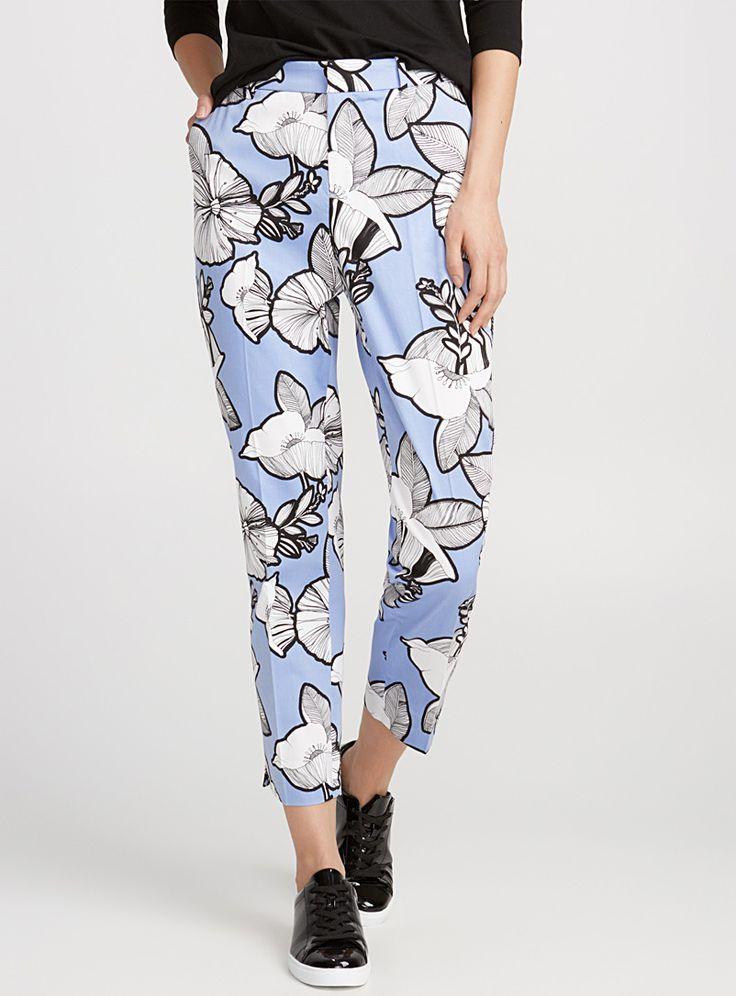 Printed cotton ankle pant | Contemporaine | Shop Women%u2019s Skinny Pants Online in Canada | Simons