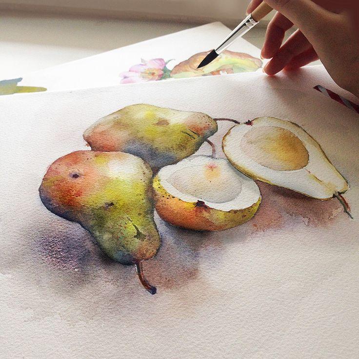 Dile bb al Angelin, que esta manera de pintar me encanta!! Asi me gustaria pintar a mi. Watercolors by Katerina Pytina
