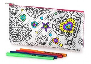Funbox Activities Colour In Heart Too Pencil Case. Love is in the air!  #love  #amazing #heart #getonit #funboxactivities @funboxactivities #kids #colouringin #kidsactivities #pencilcase