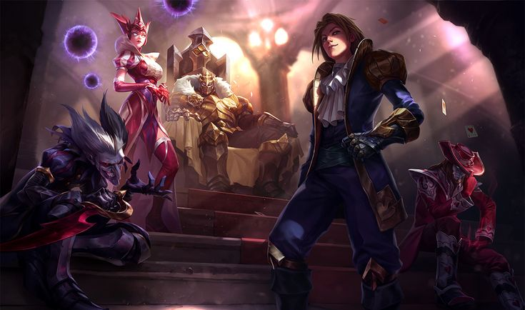 Ace of Spades Ezreal, King of Clubs Mordekaiser, Wild Card Shaco, Queen of Diamonds Syndra, Jack of Hearts Twisted Fate | League of Legends