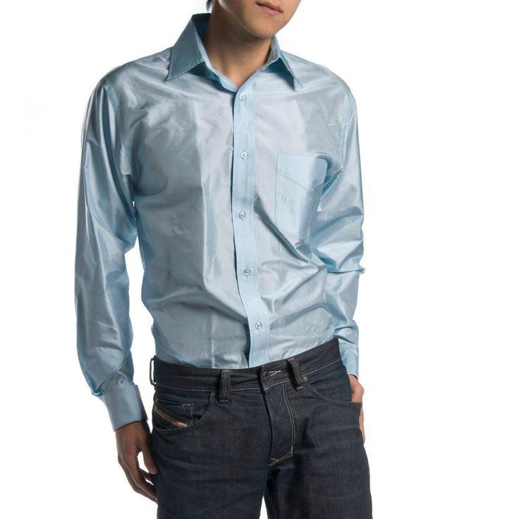 Indo-French Cuff Pale Blue Mens Silk Shirt