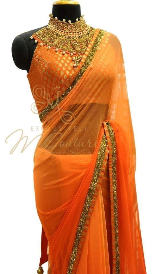 plain orange sari thin shimmer border