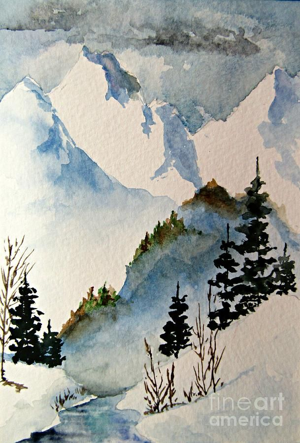Colorado Snow Mountain In 2020 Painting Mountain Drawing