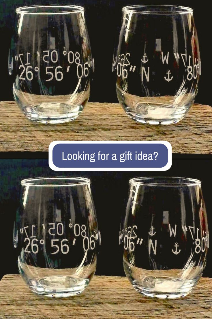 These hand engraved coordinates glasses are the perfect gift! Choose coordinates for any special place...a new home, favorite vacation spot or the location of a wedding or special event.
