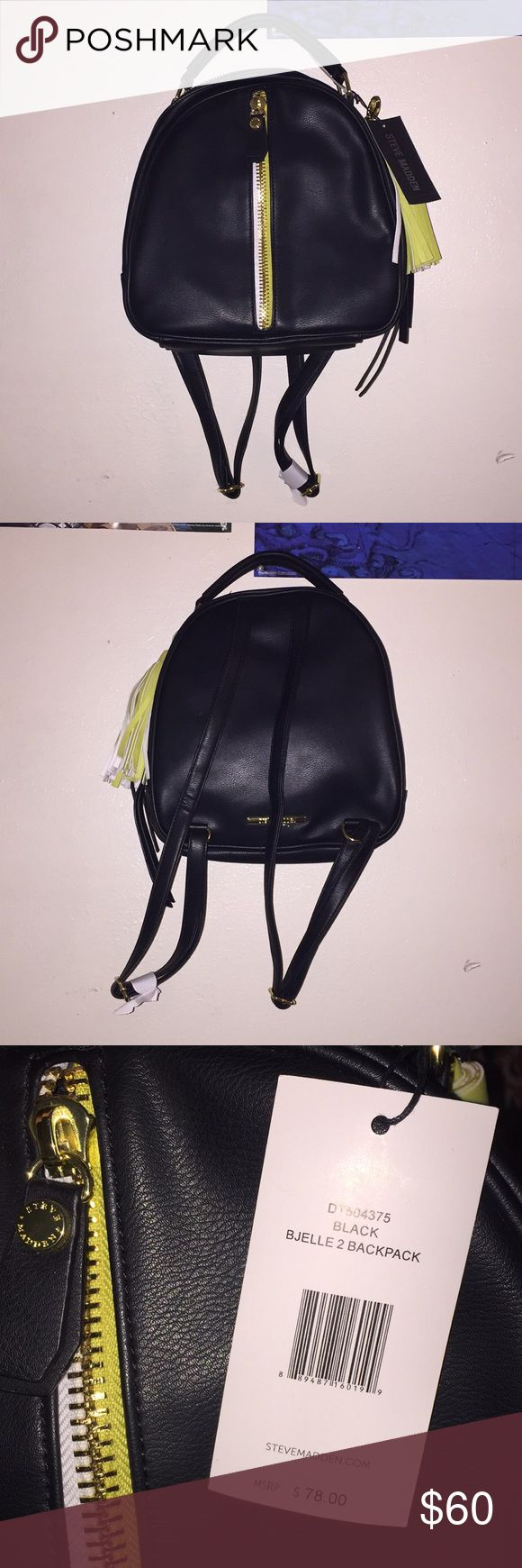 NWT Steve Madden Backpack Black steve madden backpack, with yellow and white detail. Never used, new with tags. 🙂 Steve Madden Bags Backpacks