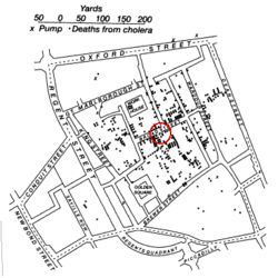 This is John Snow's 1854 map of the Broad Street (now Broadwick Street)  cholera outbreak. Widely cited as the one of the first (and arguably  best) examples of using spatial analysis in epidemiological studies,  Snow's map holds a special place in the hearts of those using spatial  analysis to improve people's lives. #Medicine #NotGoT #Map #Skills