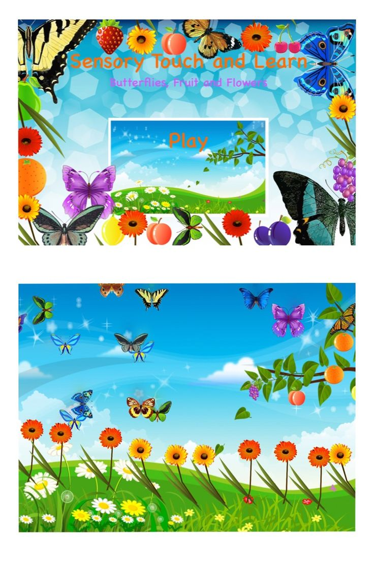 -Sensory Touch and Learn Butterflies, Fruit and Flowers- This application supports cause and effect and vocabulary development. Touch the screen in different places and all sorts of animated objects will appear with an engaging sound. Will your touch make a butterfly, flower, dog, owl, ball or fruit appear on the screen? Remember to model lots of language when effects appear on the screen!