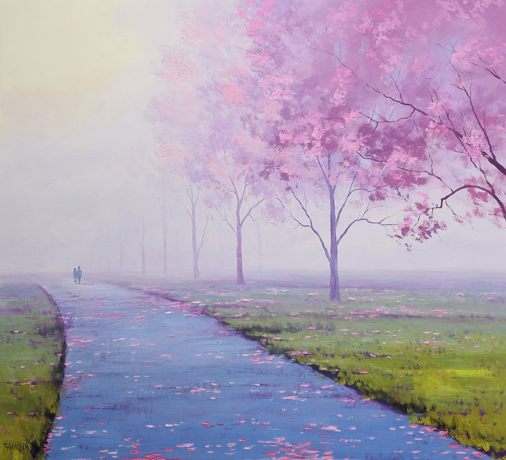 Large trees painting, large landscape painting, blossom trees, pink art, large oil painting, foggy,  huge oil painting,   by Graham gercken by landscapesAndSea on Etsy
